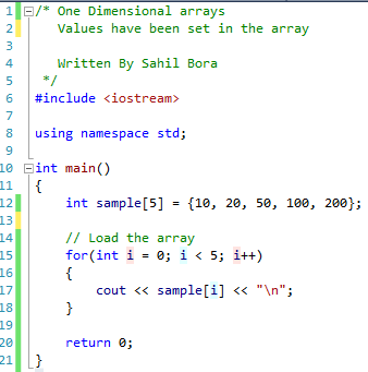 one dimensional array code 2