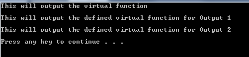 output of virtual function code
